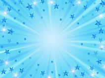 Christmas background radiate in blue. Blue christmas background with stars, lights and rays Stock Image