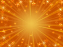 Christmas background radiate in golden. Golden christmas background with stars, lights and rays Royalty Free Stock Photography