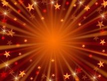 Christmas background radiate in golden and brown. Golden and brown christmas background with stars, lights and rays Royalty Free Stock Photo