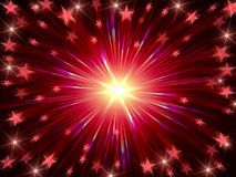 Christmas background radiate in red and violet. Red christmas background with stars, lights and rays Royalty Free Stock Photography