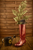Christmas background, rain boots and watering can Royalty Free Stock Photos