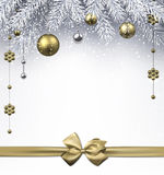 Christmas background. RChristmas background with golden balls and bow. Vector illustration.r Royalty Free Stock Images