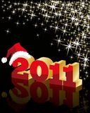 Christmas background with a red 3D design of 2011 Stock Image