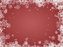 Christmas background - red backdrop - New year and Christmas postcard. Snowflakes frame royalty free illustration