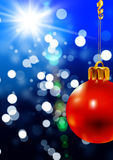 Christmas background with a red ball Royalty Free Stock Photos