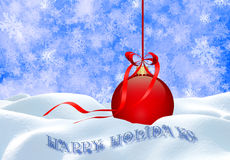 Christmas background with red ball . Royalty Free Stock Photography