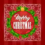 Christmas background one. Christmas background with red ball, wreath and sign. Elegant  illustration Royalty Free Stock Photo