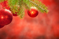 Christmas background - red balls Stock Images