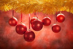 Christmas background - red balls Royalty Free Stock Images