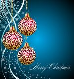 Christmas background with red balls Stock Photos