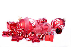 Christmas background with red balls, bells Stock Image