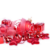 Christmas background with red balls, bells Royalty Free Stock Images