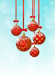 Christmas background with red balls. Christmas blue background with red balls vector illustration