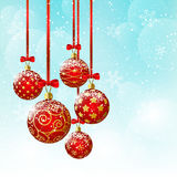 Christmas background with red balls. On blue vector illustration