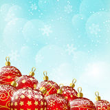 Christmas background with red balls. Blue Christmas background with red balls stock illustration
