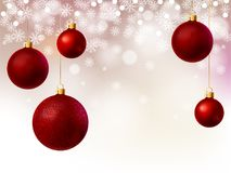 Christmas background with red balls vector illustration