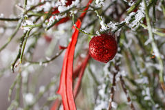 Christmas background: red balls, christmas tree, snow Stock Images