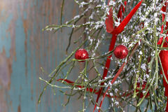 Christmas background: red balls, christmas tree, snow Royalty Free Stock Photography