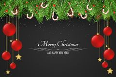 Christmas background. Red balls and golden stars. Sugar lollipops. Snowy berries with a fir tree on a dark background. Happy New Year. Falling snow. Vector Royalty Free Stock Photo