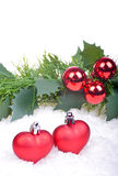 Christmas background with red balls, hearts Royalty Free Stock Photography
