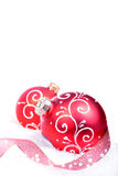 Christmas background with red balls isolated Royalty Free Stock Image