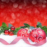 Christmas background with red balls Royalty Free Stock Images
