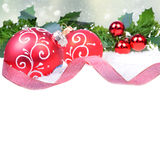 Christmas background with red balls Stock Photo
