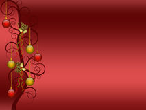 Christmas background. Red christmas background with balls and pines ornament stock illustration