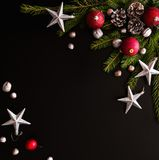Christmas background with balls, fir tree branches Stock Photography