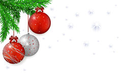 Christmas background with red balls and spruce Stock Photography