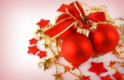 Christmas background with red balls and stars Stock Photography