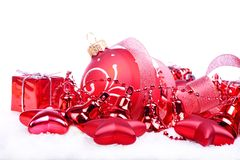 Christmas background with red balls and stars Royalty Free Stock Image