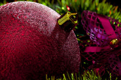 Christmas background with red bauble . Royalty Free Stock Image