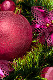 Christmas background with red bauble . Stock Image
