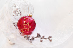 Christmas background with red bauble Royalty Free Stock Images
