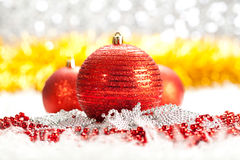 Christmas background - red baubles Royalty Free Stock Image