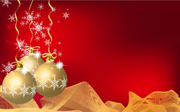 Christmas background. Red Christmas background with baubles Stock Photography