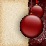 Christmas background - red baubles and blank paper sheet. Christmas background - red baubles and blank handmade paper sheet Stock Images