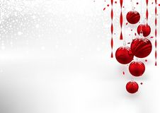 Christmas Background with Red Baubles. Festive Illustration with Snowy Background, Vector Stock Photos