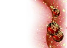 Christmas Background with Red Baubles vector illustration
