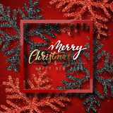 Christmas background red, with beautiful bright snowflakes realistic shine glitter. Stock Photography