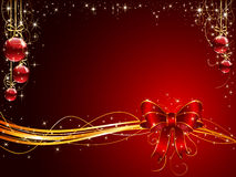 Christmas background with red bow and balls Royalty Free Stock Photo