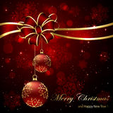 Christmas background with red bow and baubles Royalty Free Stock Image
