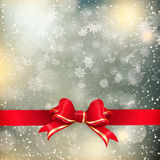 Christmas background with red bow. EPS 10 Stock Images