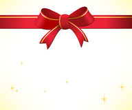 Christmas background with red bow and ribbon Stock Photography