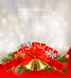 Christmas background with red bow and ribbons Stock Images