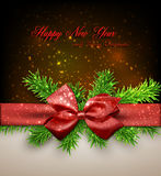Christmas background with red bow. Royalty Free Stock Photo