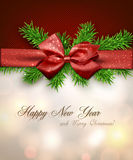 Christmas background with red bow. Royalty Free Stock Images