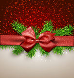 Christmas background with red bow. Stock Images