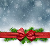 Christmas background with red bow. Royalty Free Stock Photography